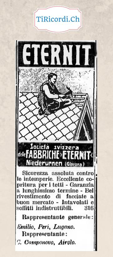 """104 anni fa, """"sicurezza assoluta"""" con l'Eternit..."""