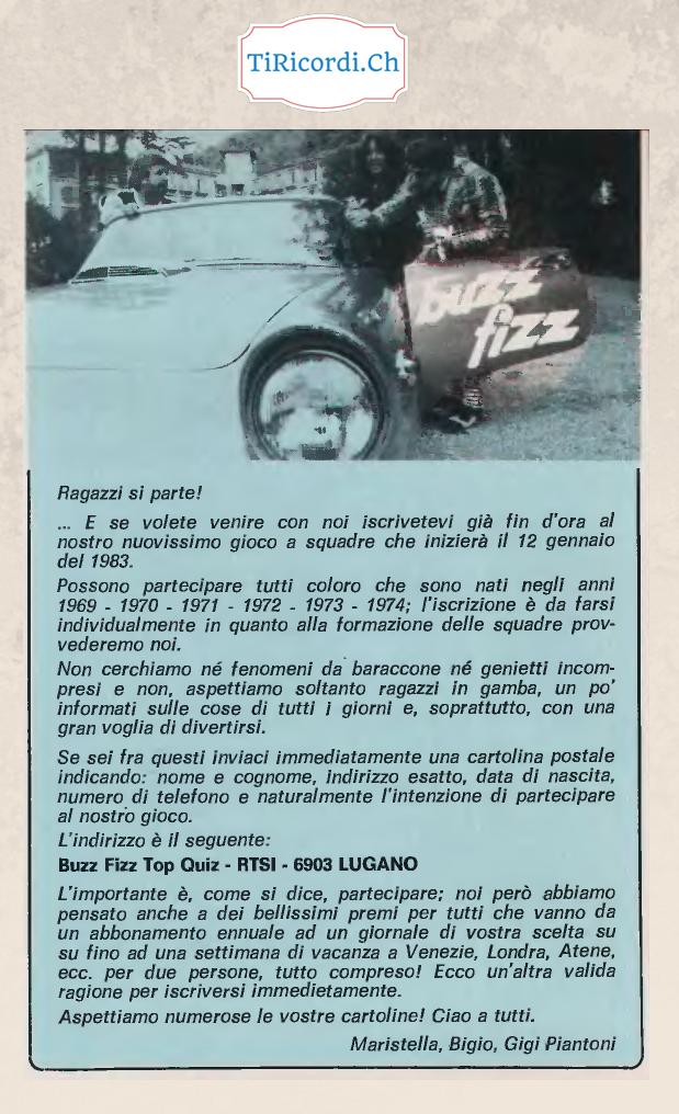 """12 gennaio 1983 la prima puntata di """"Buzz Fizz Top Quiz"""" alla RSI LA1 (allora TSI).  Condotto dalla coppia Maristella &a..."""