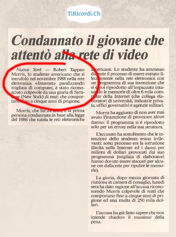 """28 anni fa la parola """"Internet"""" per la prima volta su un quotidiano ticinese. (Libera Stampa 12 febbraio 1990)"""