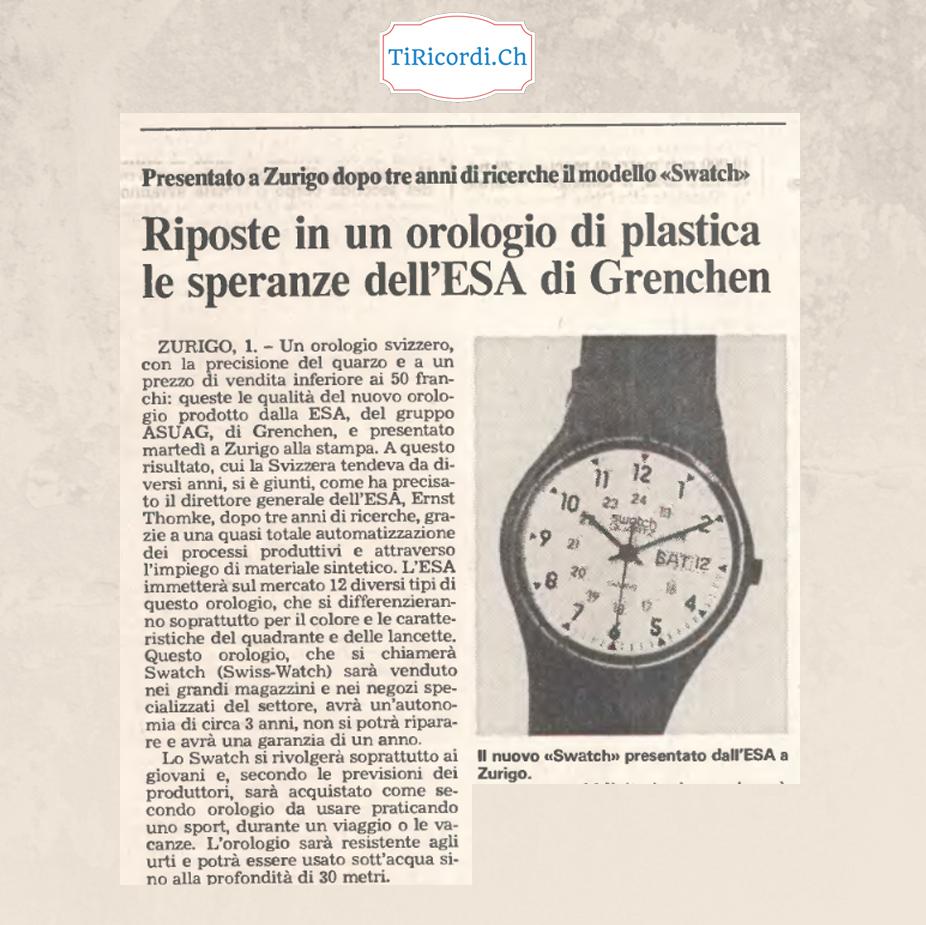 """35 anni fa articolo dubbioso sulla scelta di investire in un """"orologio di plastica"""" made in Switzerland.  Il primo marzo..."""