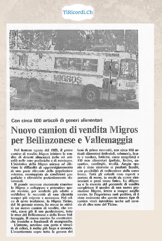 """40 anni fa presentato nuovo """"camion"""" della Migros...  23 gennaio 1978"""