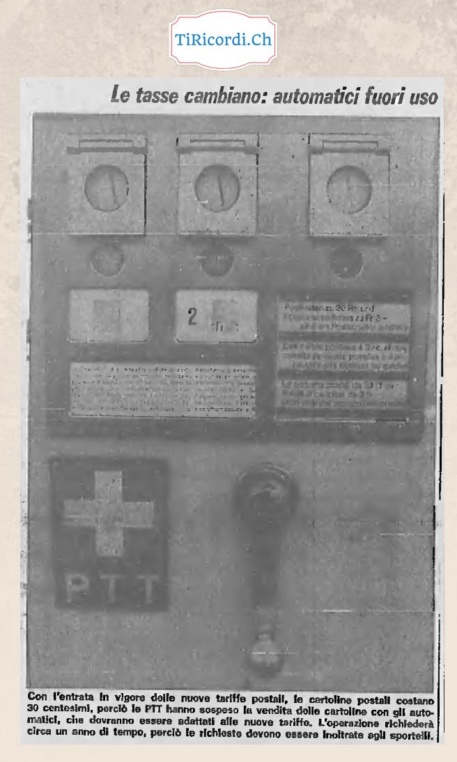 45 anni fa aumento del prezzo delle cartoline, automatici fuori uso per un anno...