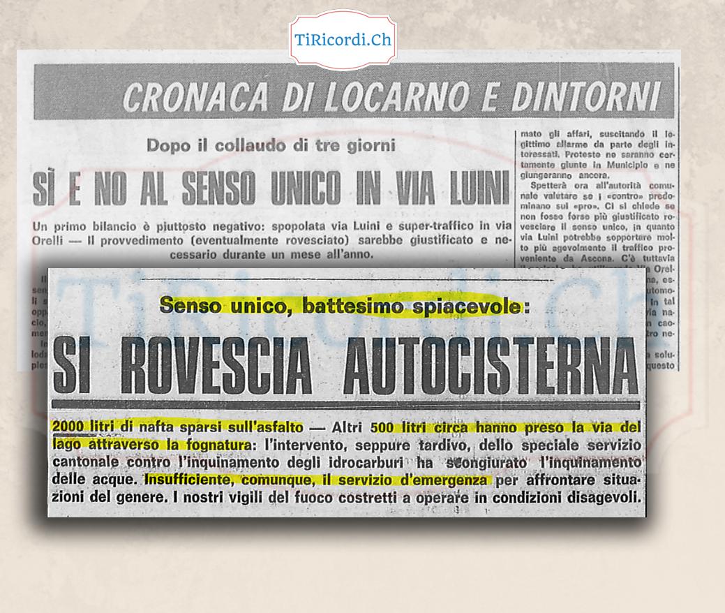 50 anni fa i disagi per aver messo una strada a senso unico.  Agosto 1968.