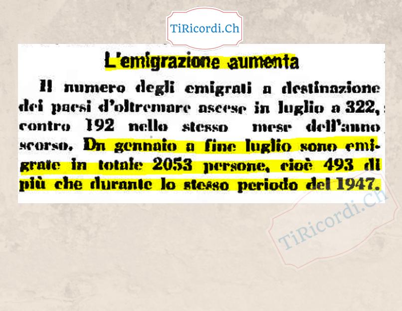 70 anni fa era il contrario: Aumento dell'EMIGRAZIONE.  Settembre 1948