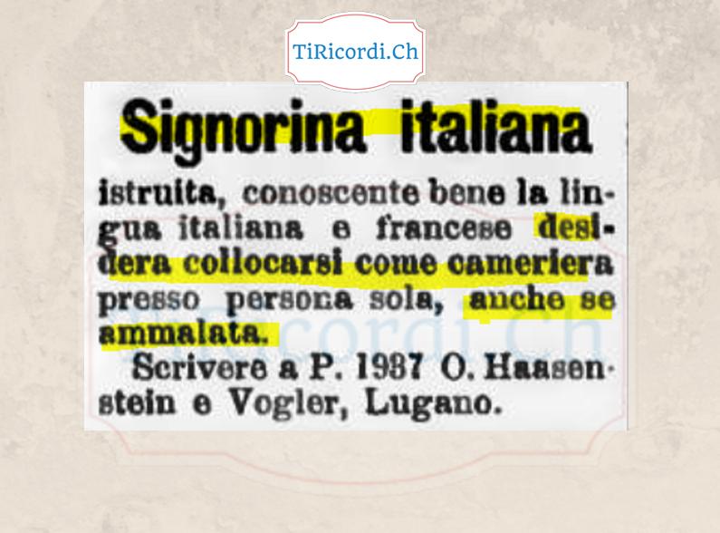 Annuncio di 120 anni fa, luglio 1898