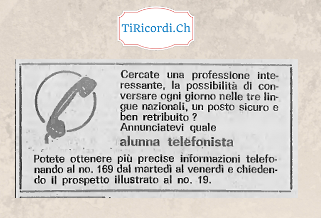 Annuncio di lavoro di 50 anni fa, gennaio 1968.