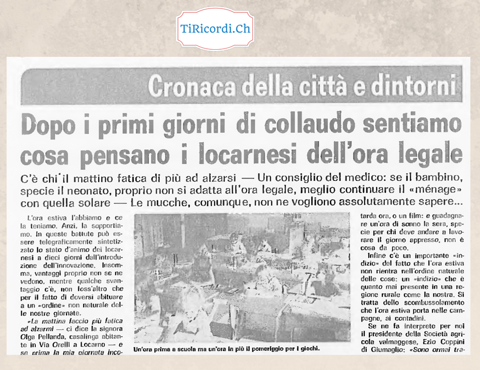"""Aprile 1981: """"Primi dubbi"""" a pochi giorni dall'introduzione per la prima volta dell'ora legale."""