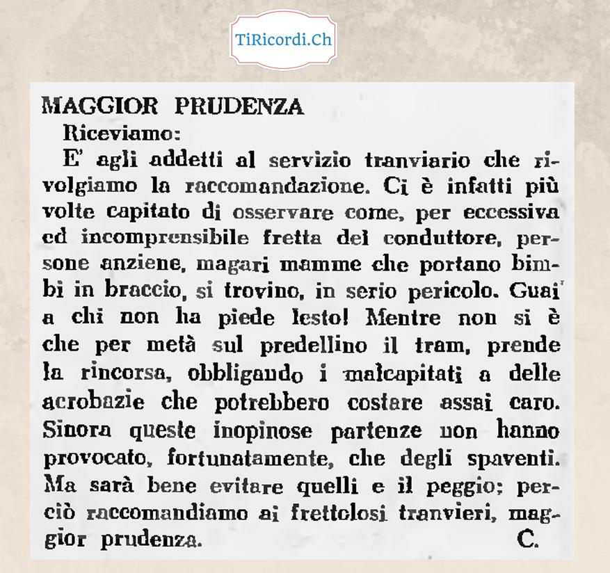 """""""Cari tranvieri"""" prestate più prudenza"""".  Annuncio pubblicato 70 anni fa..."""