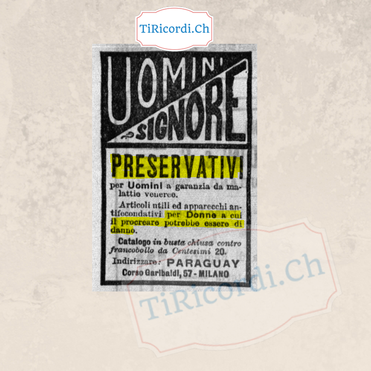 Come si pubblicizzavano i preservativi nel settembre del 1908.