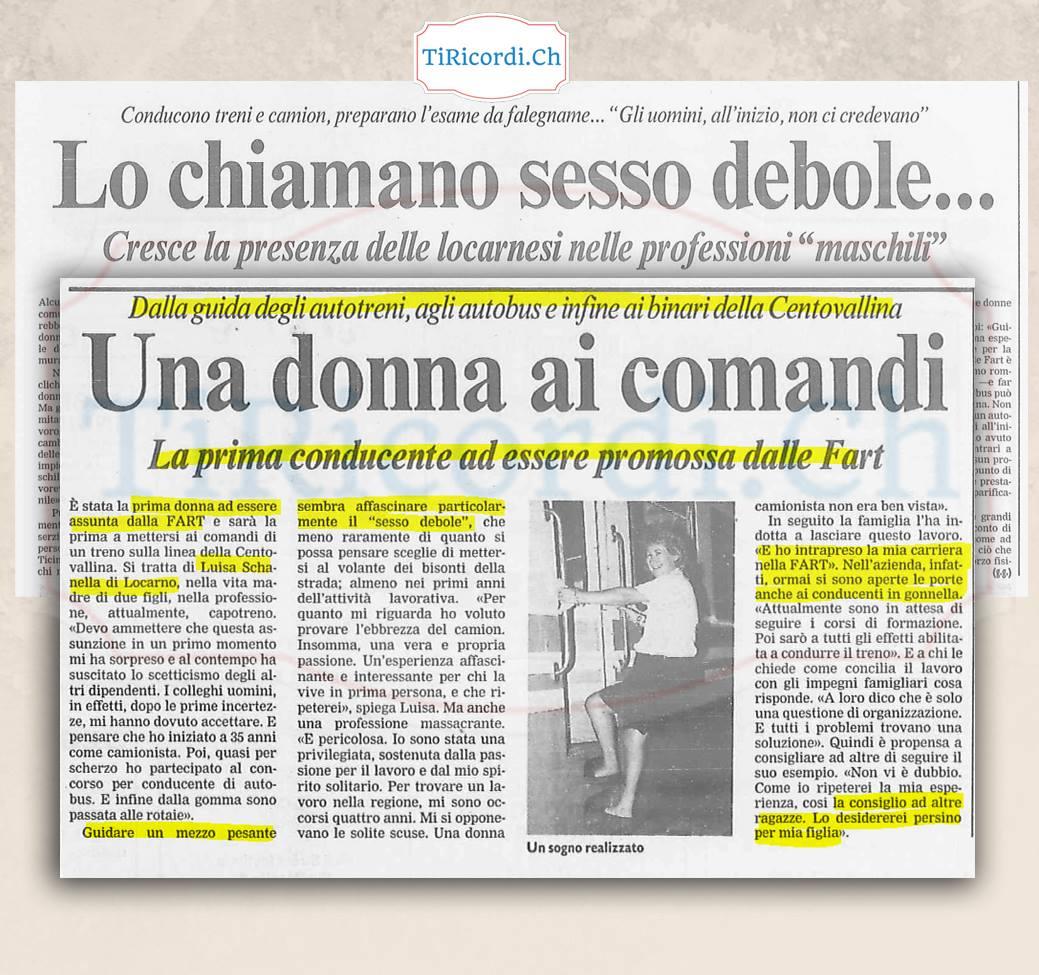 Come veniva presentata dalla stampa la prima donna a lavorare nei mezzi pubblici locarnesi. Correva l'agosto del 1992.