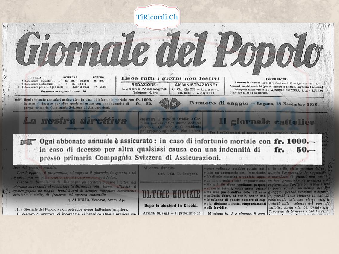 Dal primo numero del Gdp  18 Novembre 1926 dopo 91 anni di vita.