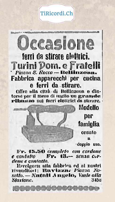 Ferro da stiro, pubblicità del febbraio di 110 anni fa.