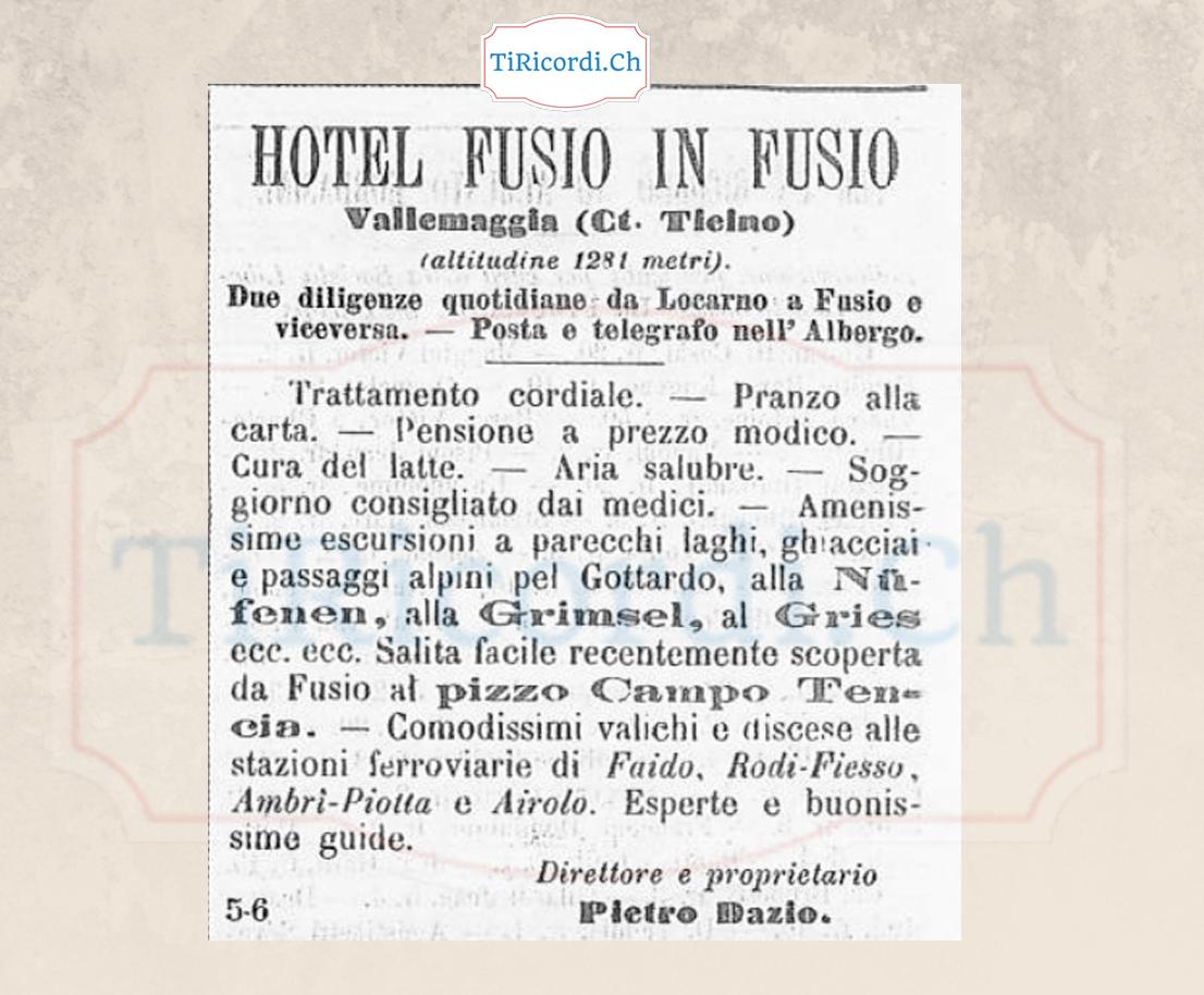Fusio la meta turistica definitiva, estate 1888.