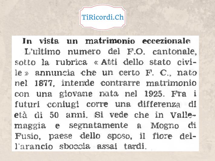 Gossip di 60 anni fa, un matrimonio inusuale in Vallemaggia...