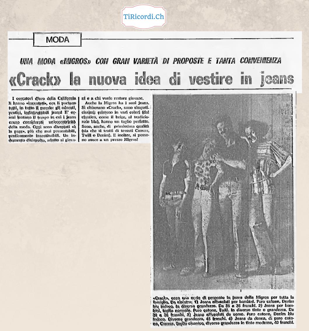 I Jeans finalmente anche alla MIGROS  Febbraio 1977
