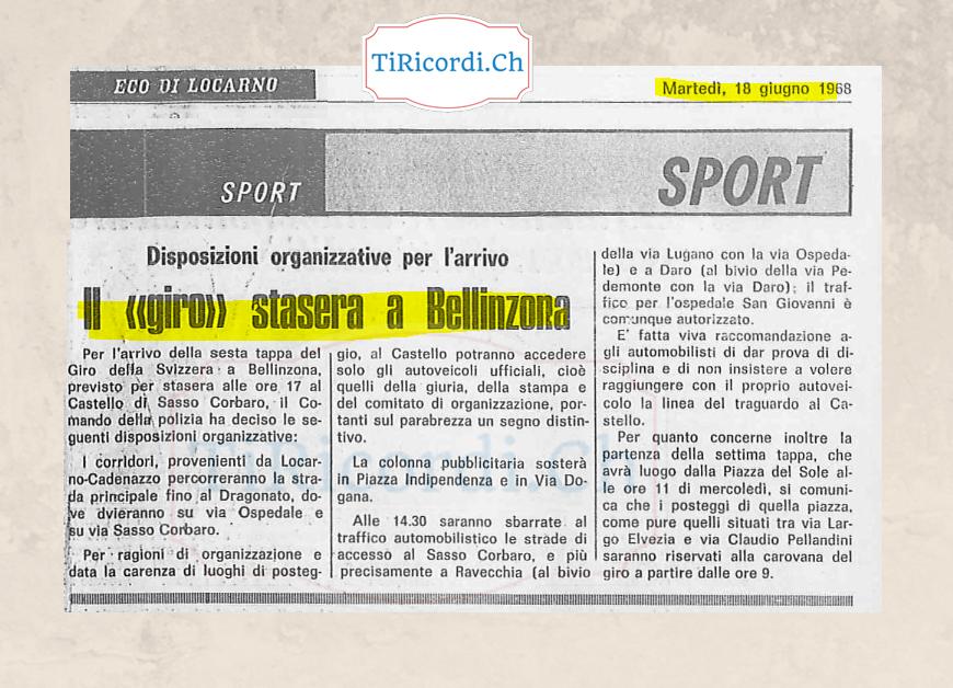 Il Tour De Suisse a Bellinzona... anche 50 anni fa!  18 giugno 1968