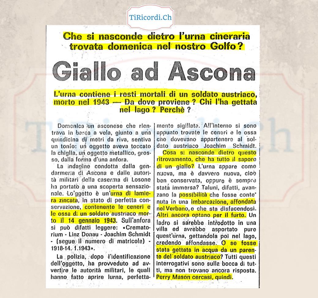 Il giallo dell'urna ritrovata ad Ascona 60 anni fa...