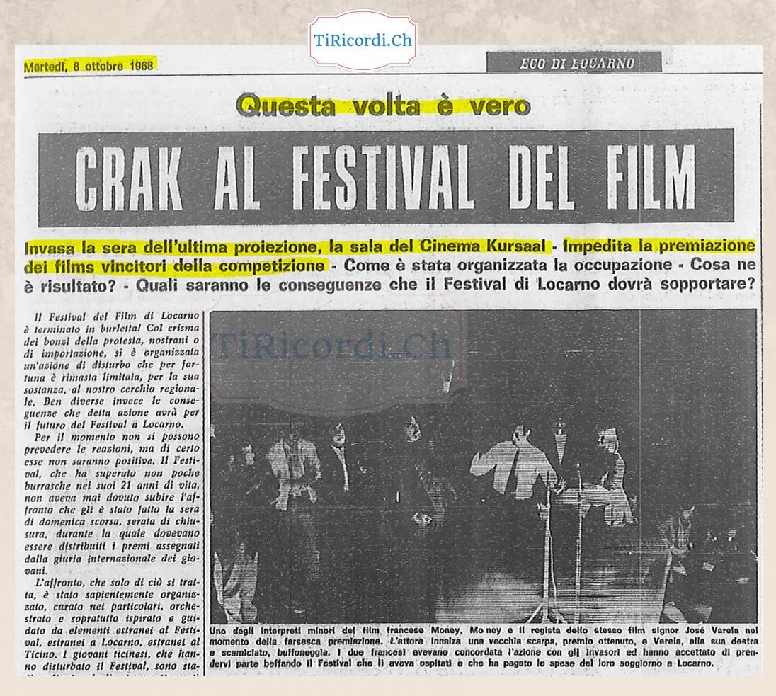 L'occupazione durante l'ultima serata di premiazione del Festival del Film di 50 anni fa.  Nella serata di ottobre del 1...