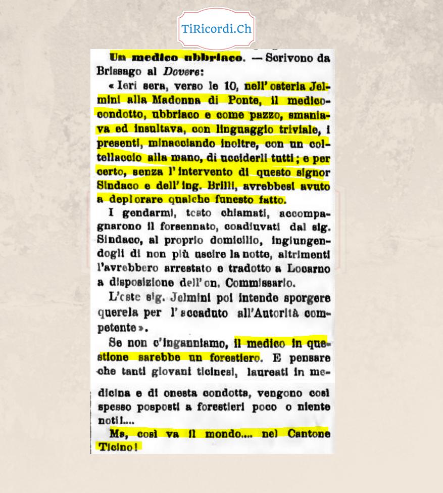 Medico forestiero ubriaco, ottobre 1898  #120anni