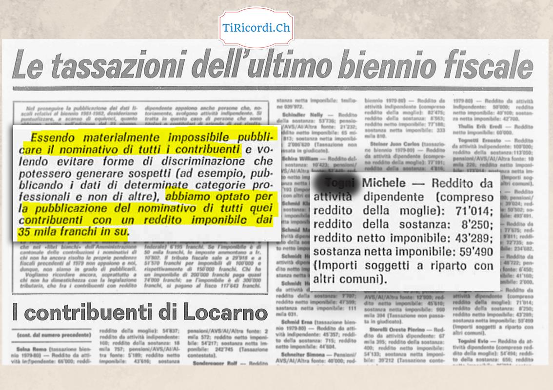 Quando 35 anni fa si pubblicavano i dati fiscali con nomi e cognomi. (Eco di Locarno del 2 luglio 1983)