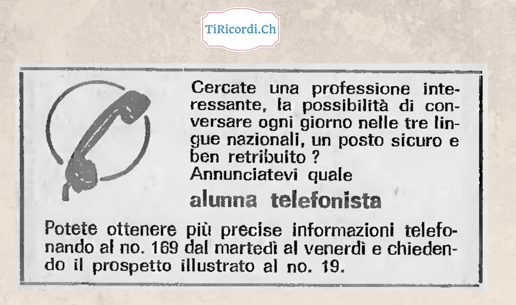 Quando i call center non erano ancora i call center...  Pubblicità del 1968