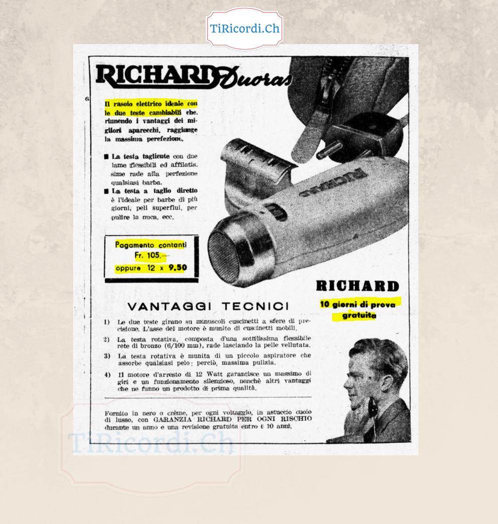 Rasoio elettrico... a rate!  Aprile 1948