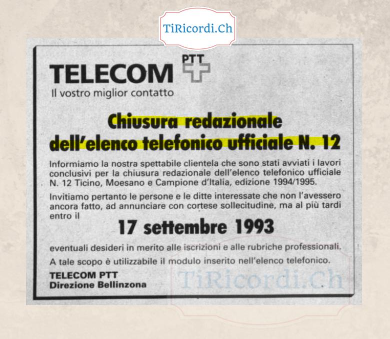 Un mese prima di andare in stampa con l'elenco telefonico.  Annuncio pubblicato 25 anni fa il 18 agosto 1993.
