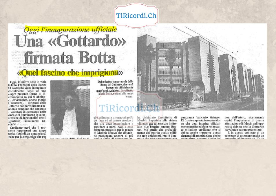19 novembre 1988 si inaugurava la sede Banca del Gottardo (ora stabile BSI dopo la fusione) #30anni