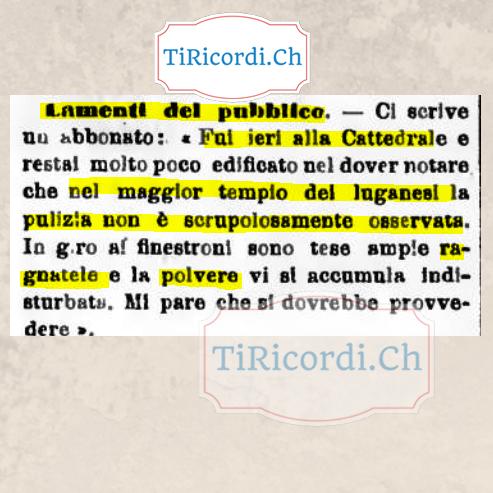"""5 novembre 1898 e le ragnatele e polvere nella """"cattedrale di Lugano"""" #120anni"""