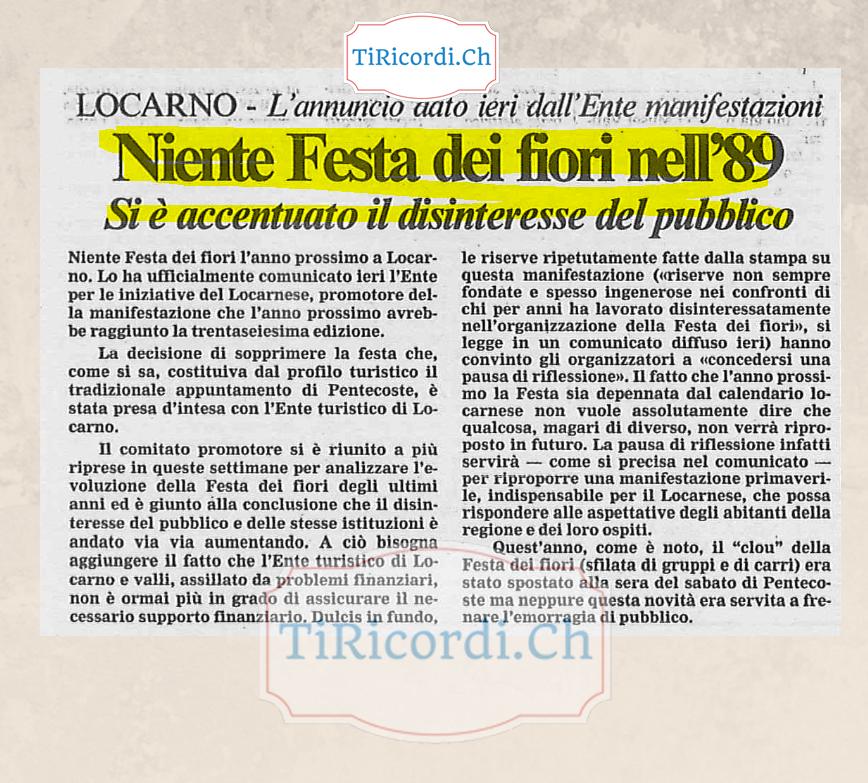 Il 3 novembre 1988 si decretava la fine della Festa Dei Fiori di Locarno. #30anni
