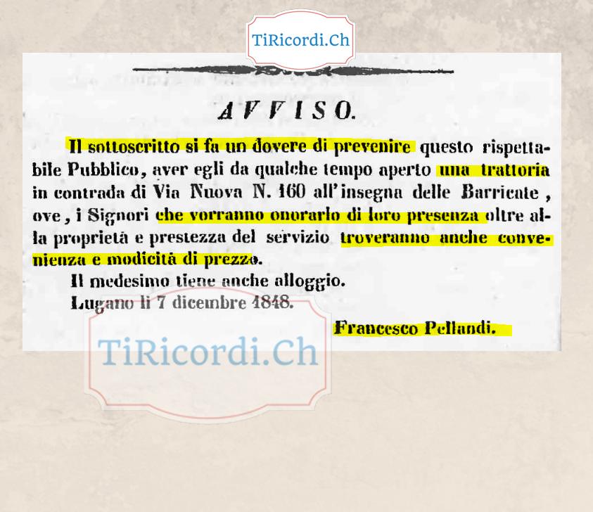 Come veniva promossa una trattoria nel dicembre del 1848 #170anni