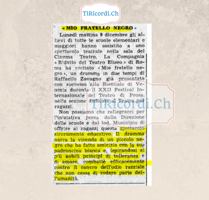 Mendrisio: Primi tentativi di sensibilizzazione contro l'odio razziale.    12 dicembre 1963 #55anni