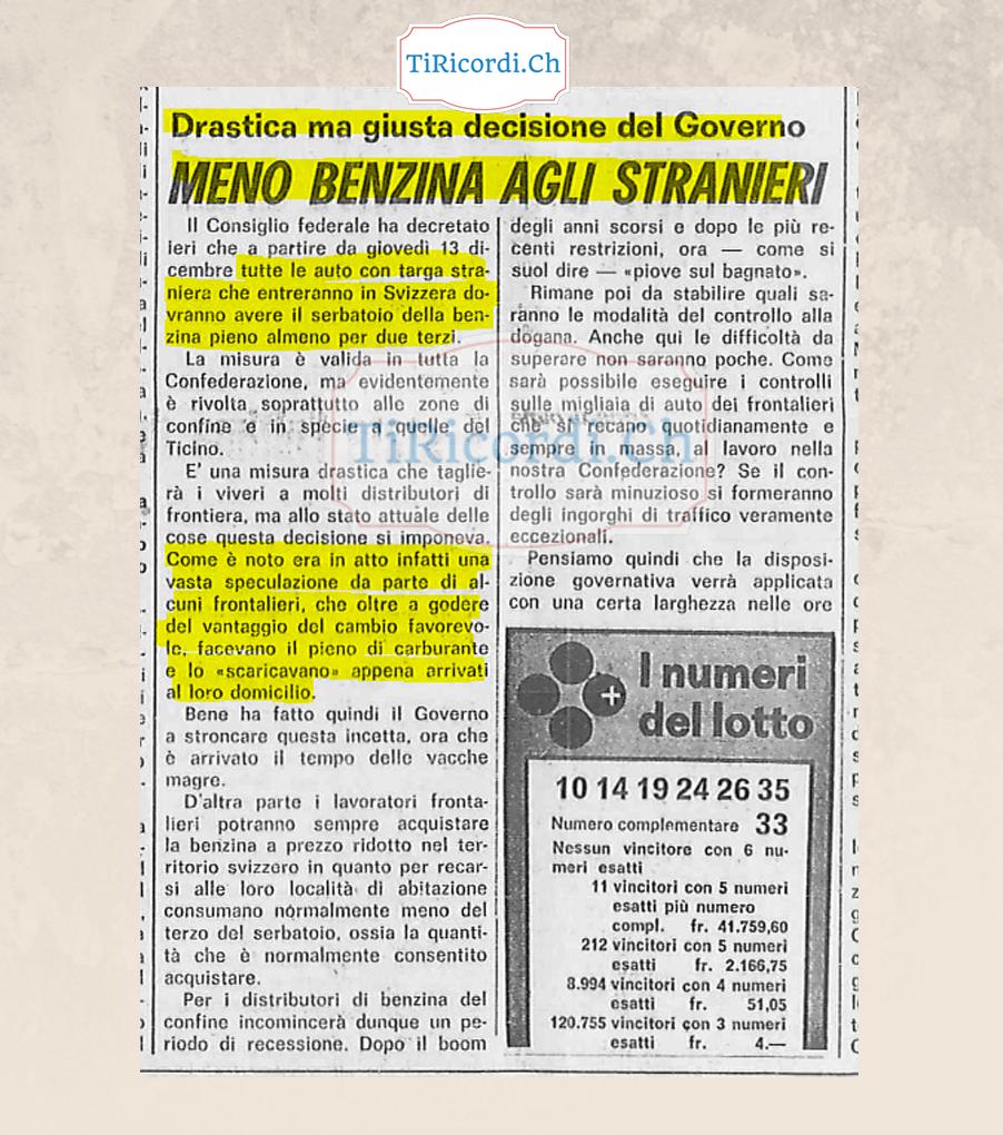 """""""Prima i nostri... sebatoi"""". Drastica misura applicata nel dicembre del 1973 #45anni"""