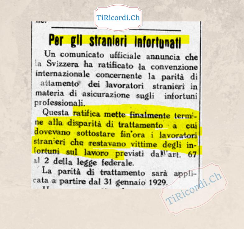 31 gennaio 1929: #90anni introdotta, anche per gli stranieri, la parità di trattamento per l'assicurazione sul lavoro.