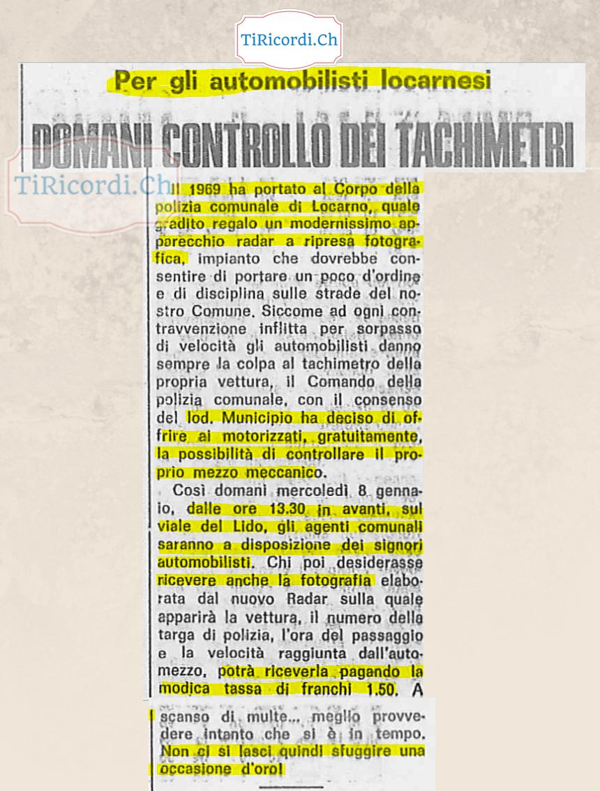 """7 gennaio 1969: Locarno """"si regala"""" il primo radar fotografico. Possibilità gradita agli automobilisti (a pagamento) di ..."""
