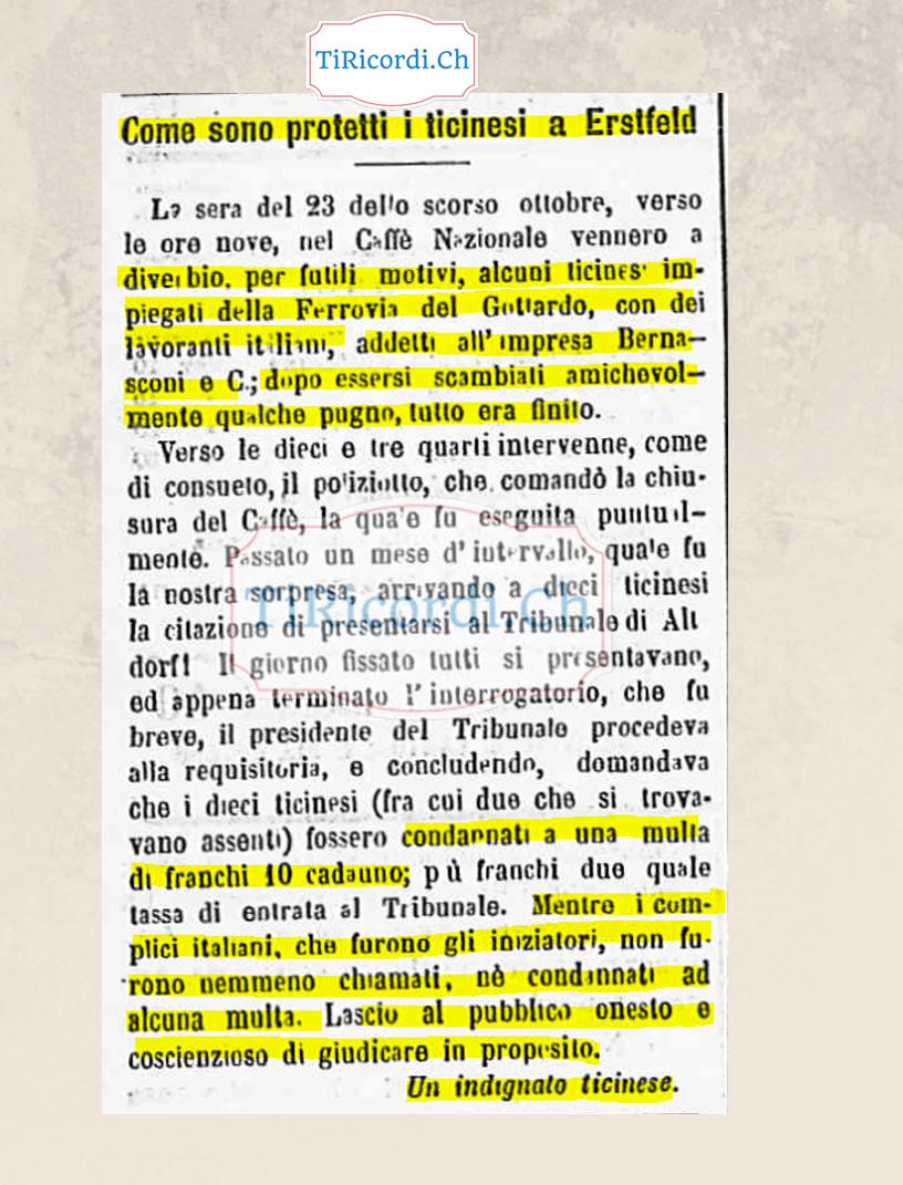 Articolo pubblicato il 15 gennaio 1899: Ticinesi vs. italiani  #120anni