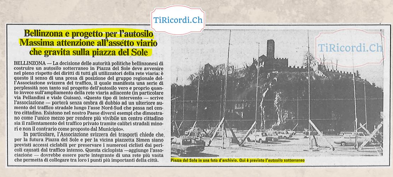 Bellinzona, gennaio 1989:  approvato il progetto per l'autosilo di Piazza del Sole. #30anni