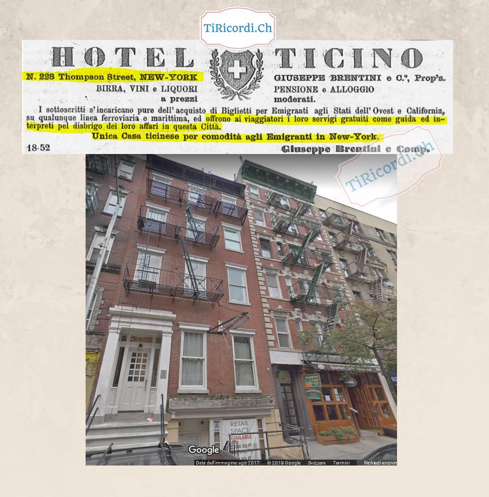 Gennaio 1889: pubblicità su un nostro quotidiano locale riguardante un hotel di New York indirizzato ai tanti emigranti ...