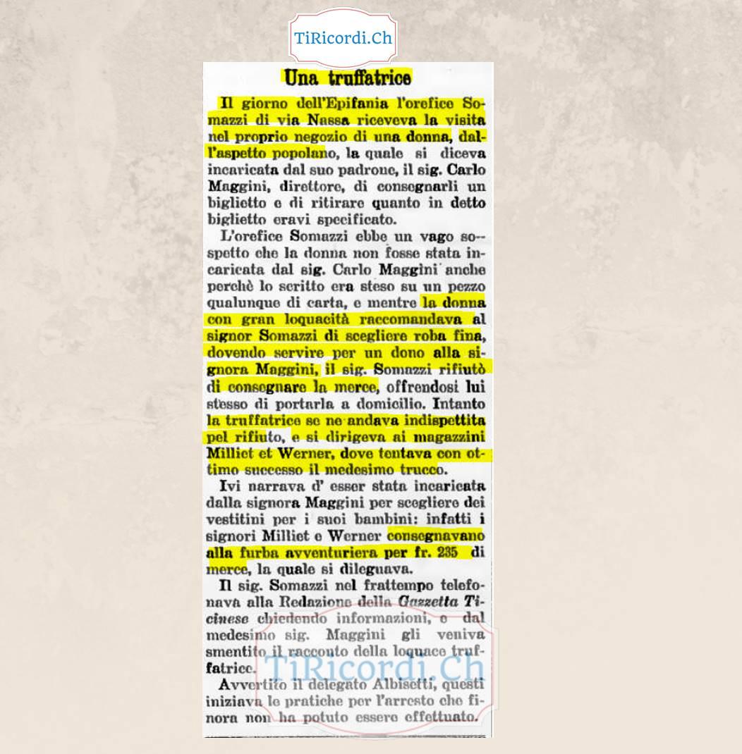 Storia di una truffatrice a Lugano pubblicata l'11 gennaio 1909 #110anni