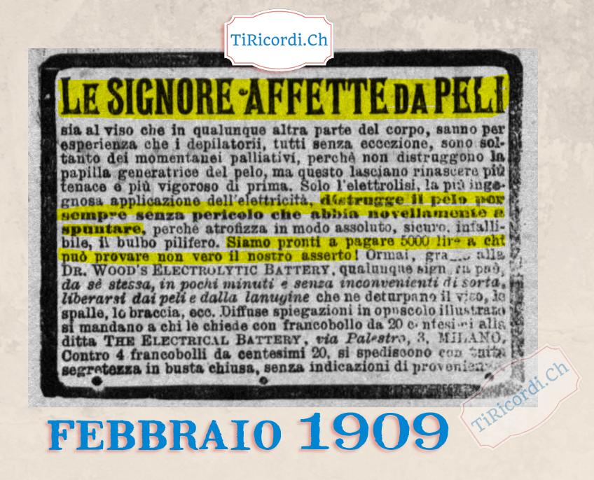 """#110anni: Pubblicità per """"signore pelose"""" nel febbraio del 1909."""