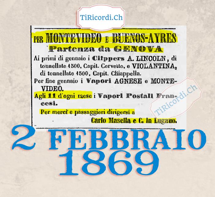 2 febbraio 1869: Pubblicità per gli emigranti ticinesi #150anni fa.