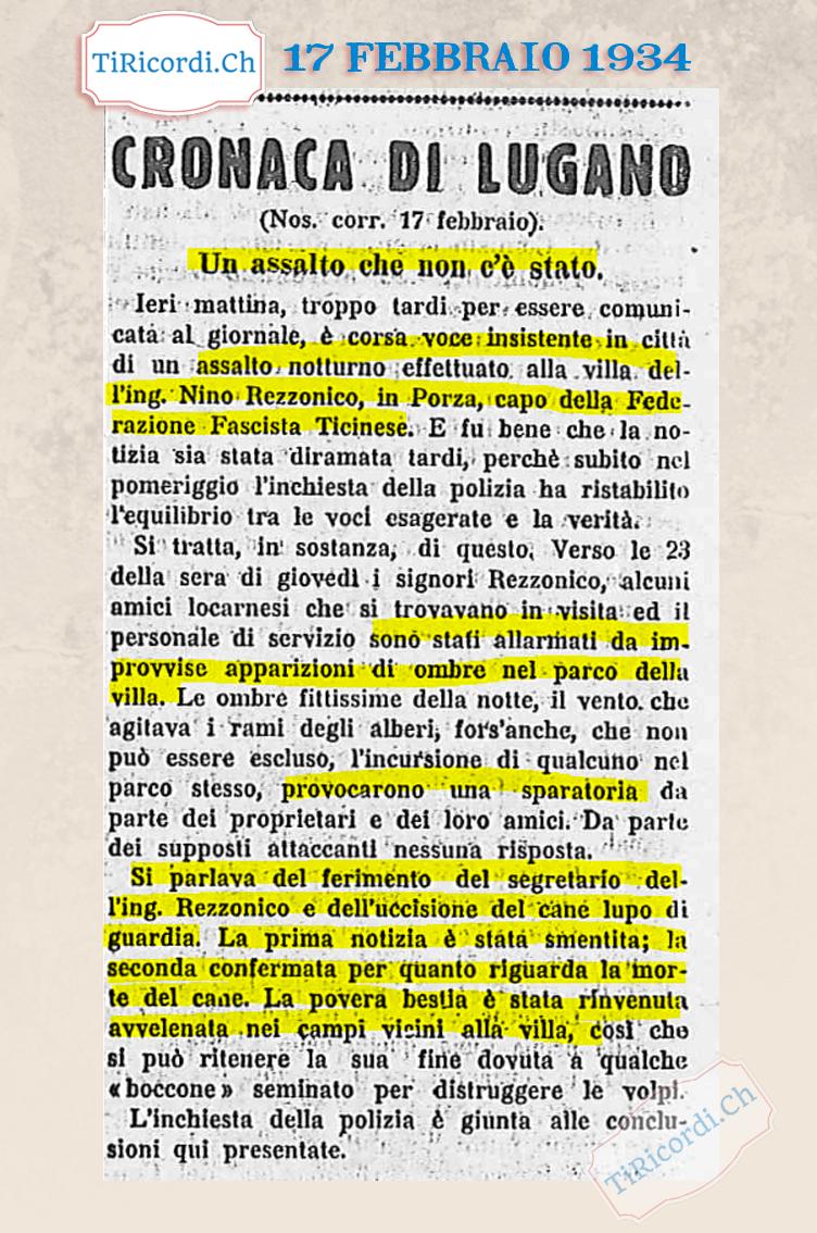 """#85anni il 17 febbraio 1934 assalto nella villa del fascista ticinese tale Rezzonico, ci lasciò le penne il """"povero"""" can..."""