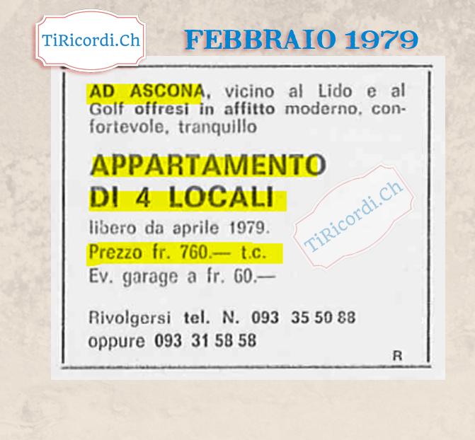 Affitto di un appartamento da Ascona #40anni