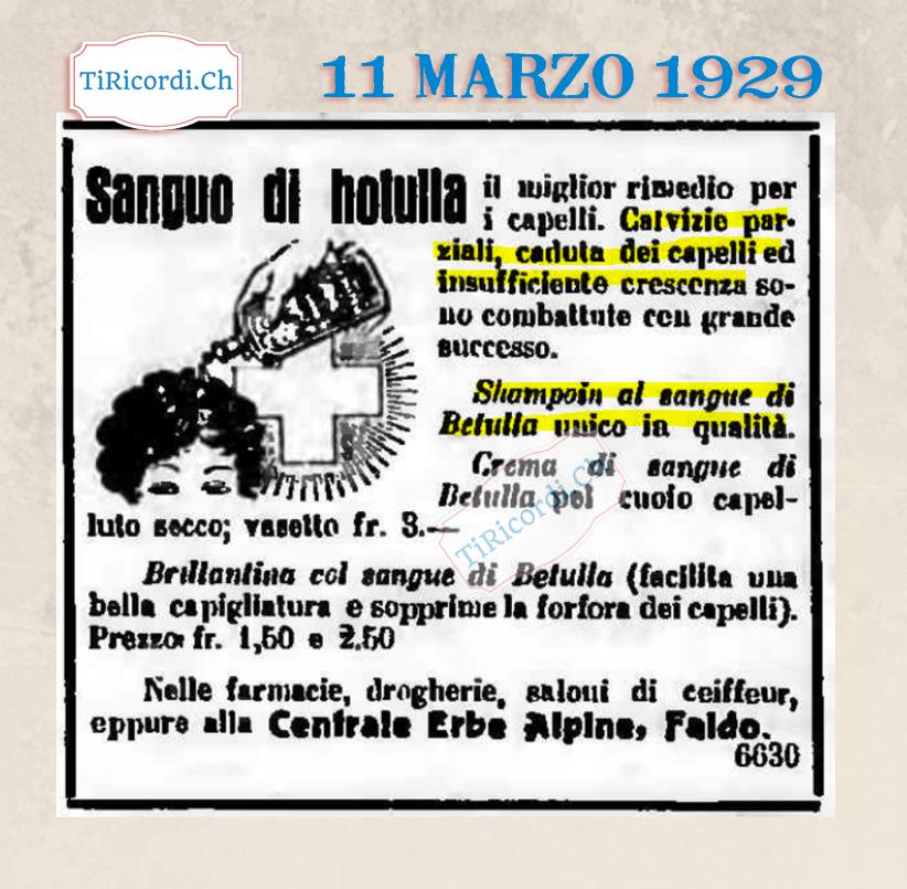 11 marzo 1929: pubblicità di un prodotto per i capelli