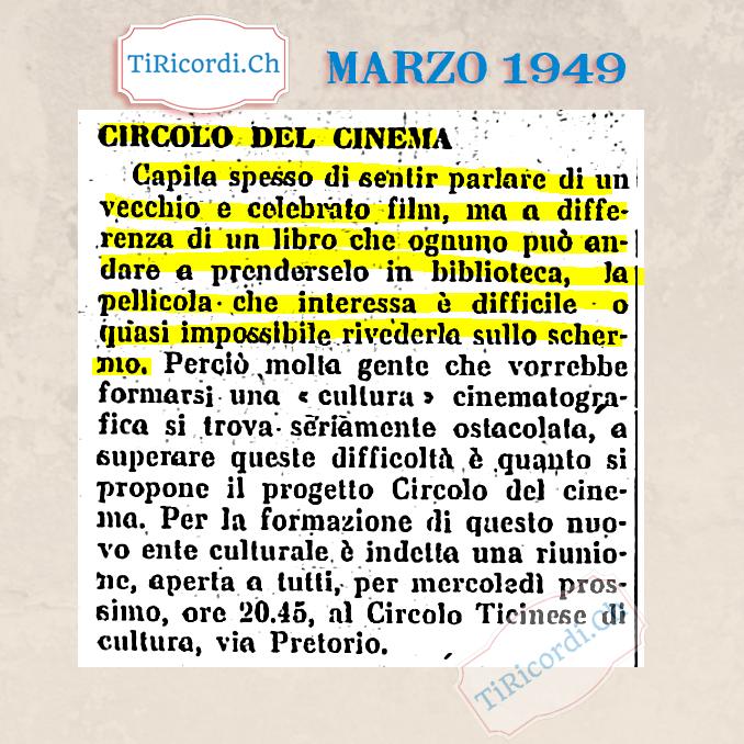 """#70anni fa prima di Netflix e del cinema """"on-demand"""", marzo 1949"""