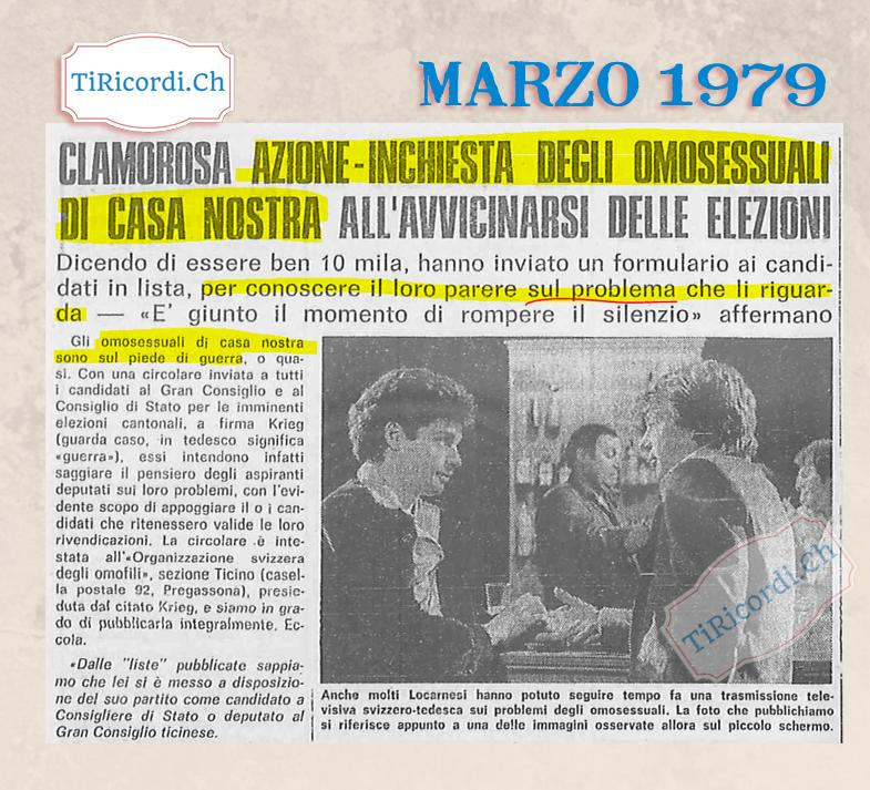 """Anche #40anni fa aria di elezioni: il """"problema"""" degli omosessuali in Ticino."""