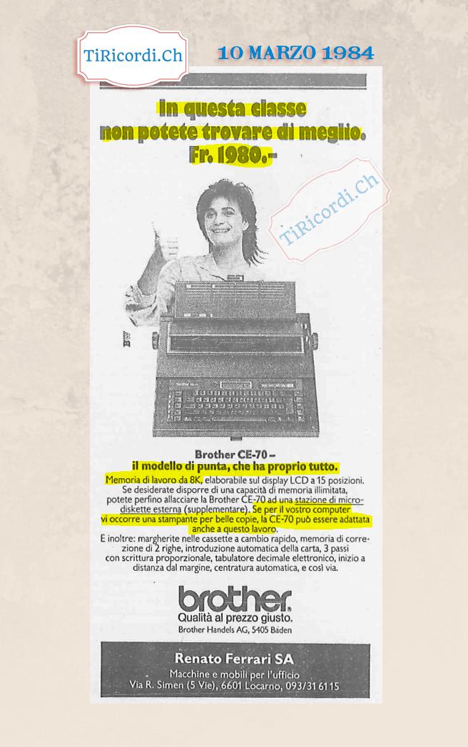 Macchina da scrivere, pubblicità di #35anni fa.  10 Marzo 1984