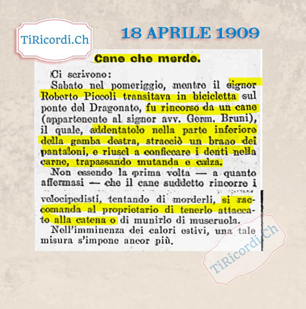 18 aprile 1909: BREAKING NEWS: Cane incustodito.