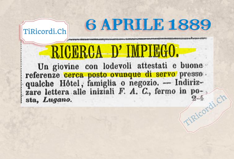 6 aprile 1889: Ricerca d'impiego #130anni