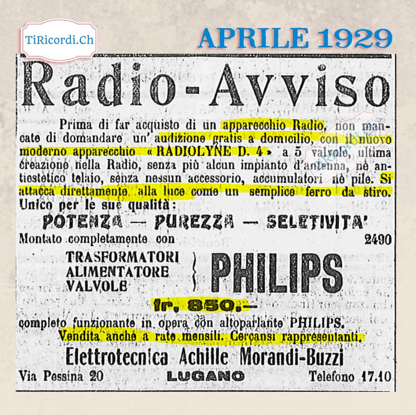 """Aprile 1929: Nuovo modello di radio """"che si attacca alla presa della luce come un normale ferro da stiro"""" #90anni"""